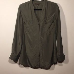 Tommy Bahama silk army green shirt size M